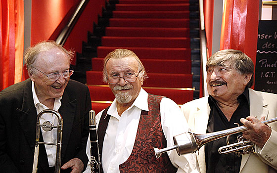 26. August 2012: The Famous 3 B's gemeinsam in Berlin Köpenick: Chris Barber, Mr. Acker Bilk, Kenny Ball - es war eine Sensation!